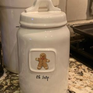 """Rae Dunn """"Oh Snap"""" gingerbread canister NWT"""